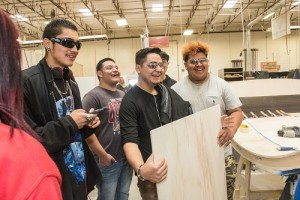 Students touring photo Jane Phillips Photography 2016 OGB Architectural Millwork during Manufacturing Day 2016; photo Jane Phillips Photography